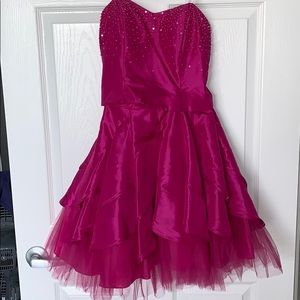 Fuchsia sequined corset back formal dress